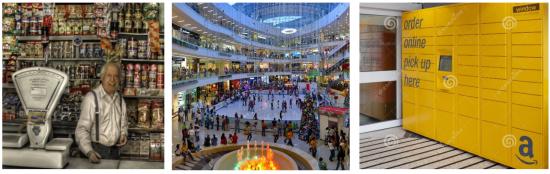 Figura 1. Ejemplo de una tienda de antes, y de un centro comercial y una taquilla de comercio electrónico de ahora.